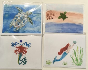 Watercolor and sea glass note cards