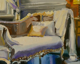 Art Print of FENCH CHAISE, French interior, beige and grey, beautiful sitting room, gift for mom, gift for her, Christmas gift