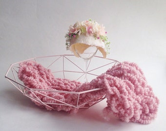 Vintage wool blanket + wool bonnet for newborn photography