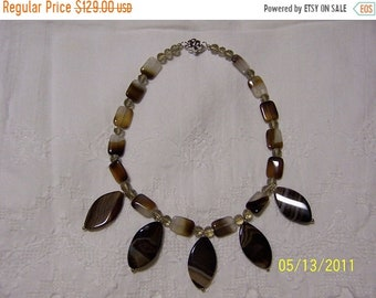 SUMMER SALE 20% OFF, Big Oval Banded agate and crystal necklace. sterling silver.
