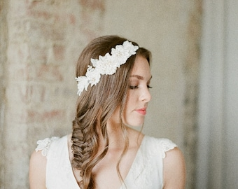 Lace Bridal Headband, Ivory Flora Hair Piece, Lace Bridal Headpiece, Ivory Bridal Headpiece BOYCE