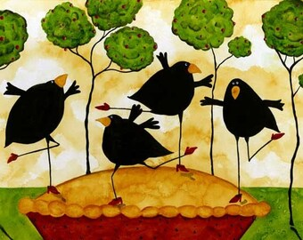 Farmhouse Crow Blackbird Raven Pie Dancing Debi Hubbs Folk Art Whimsical Kitchen