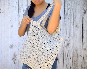 Summer tote beach bag pearl gray crochet tote shoulder bag avoska cotton handmade shopping bag reusable bag boho bohemian women accessories