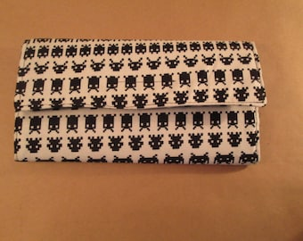 O.O.A.K. Black and White alien vertical tri-fold wallet