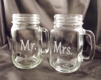 Etched Personalized Mason Jar Mugs - Mr and Mrs - His and Hers - Bride and Groom Glasses - Anniversary Gift
