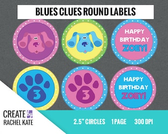 CUSTOM ORDER - Blues Clues 2.5 Inch Circle Round Cupcake Toppers Stickers Labels Favors