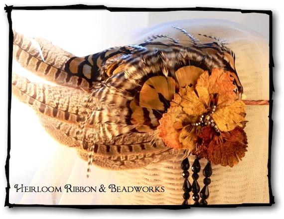 Autumn Enchantment Fancy Feathered Headpiece, Fall Festival Crown, Tribal Headband, Boho Headpiece, Feathered Crown, Rustic Bridal Headpiece