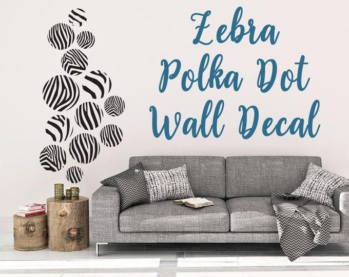 Zebra Print Dot Wall Decal - Wall Decal - Zebra Print - Polka Dot Wall Decal - Zebra Wall Decor - Wall Art - Polka Dot Decal - Zebra