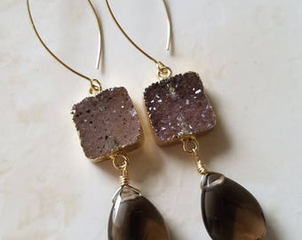 Smoky Quartz Earrings - Druzy Earrings - Drop earrings - Long Gold Earrings - Gold Filled Earrings  - Agate Jewelry - Druzy Jewelry