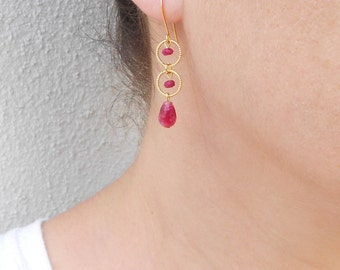 Jade drop earrings, Red and gold earrings, Gold loop earrings