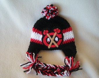 Crocheted Blackhawks Inspired In Team Colors or (Choose your team) Baby Beanie/Hat - Made to Order - Handmade by Me