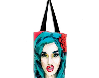 Adore Delano Drag Race tote bag with lining. Superstrong, handmade, and exclusive to ThatAgnes