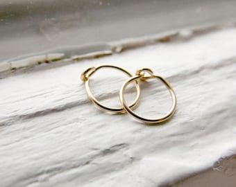 Tragus Hoop Earrings 14k Gold Fill