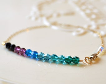 Crystal Bracelet, Peacock Colors, Black Purple Blue Emerald Green, Swarovski Crystal, Dainty, Sterling Silver or Gold Filled Jewelry