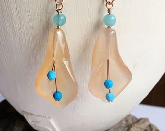 Carnelian lily earrings