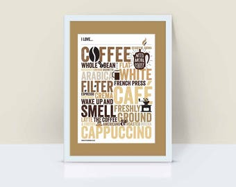 I Love Coffee A4 Typographic Poster