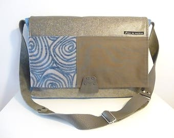"Messenger Briefcase ""hypnosis"" blue velvet fabric, jeans, velvet, faux leather, leather handle"