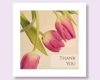 Thank You Card, Flower Photo Card, Tulip Floral Greetings Card, Pink Card, Note Card, Thank You Notelet, Notecard