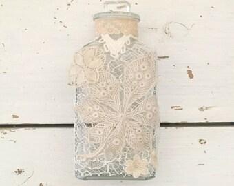 Decorative Bottle, Shabby Chic Home Decor, Glass Bottles, Altered Bottles, Mother's Day Gift, Bottle Decor, Vintage Bottles, Bedroom Decor