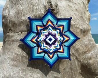 Blue Star Mandala, Ojo De Dios, 16 inch, Wall Hanging, by custom order