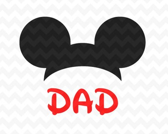 Mickey Mouse ears Dad svg, Disney Mickey Mouse head svg cricut silhouette svg file instant download mickey mouse head svg file