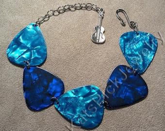 Ocean Themed Aqua and Blue Guitar Pick Bracelet