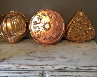 Copper jello molds / vintage copper colored zodiac , christmas tree , corn and tomato mold / copper mold kitchen decorations, kitschy molds