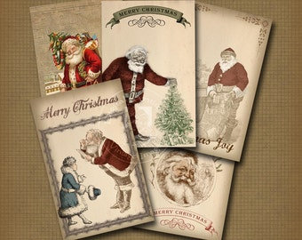 Vintage Christmas Santa Cards Digital Download