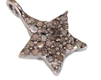 Pave Diamond Charm , Diamond Star Charm,Star Charm, Pave Diamond Star Charm 8x8 mm Pave Diamond 925 Starling Silver Star Charm