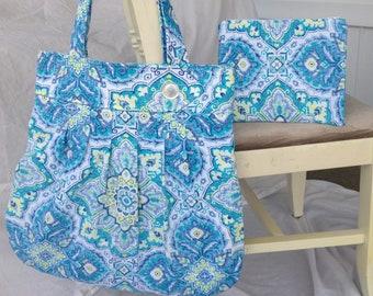 Pleated Tote Bag/Shoulder Bag/Home Dec Fabric/Decorative Button BONUS Zipper Pouch