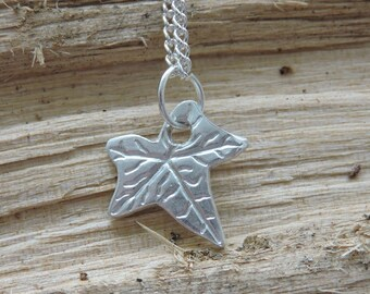 Silver Ivy Leaf Charm Necklace - Leaf Pendant - Gift for Her - Silver Necklace