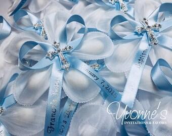 Jordan Almond Flower Communion Bombonieres /White Confetti Flower+Sky Blue Personalized Ribbon+Rhinestone Bling Cross-Italian-Inspired Favor