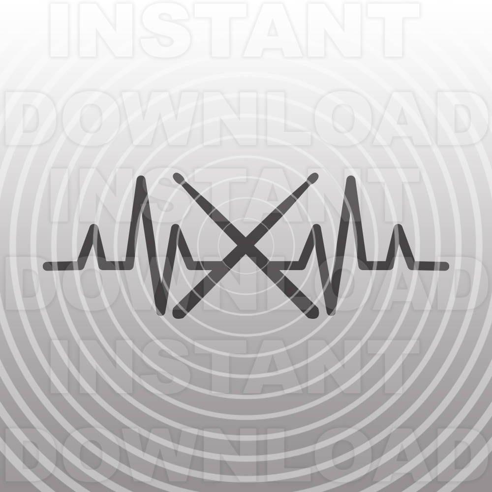 Heartbeat Drumsticks SVG File,Drummer SVG,Marching Band ...