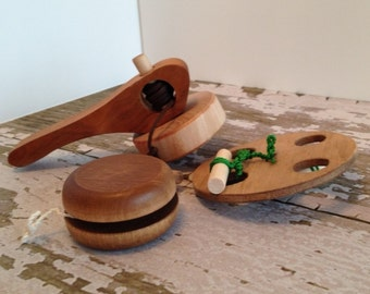 Toys - Folk Toys - Set of 3 Spinning Handcrafted Wooden Folk Toys that Includes Top, Yo-Yo and Spinning Wheel - Wooden Folk Toy Set