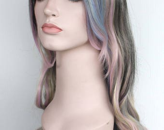 Brown blonde pink blue pastel colors, Ombre long curly wig. High quality synthetic wig. Ready to ship.
