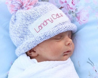 NEWBORN NAME ANNOUNCEMENT, Personalized, baby boy hat, personalized baby girl hat, monogram newborn hat, baby announcement, baby hats, hat