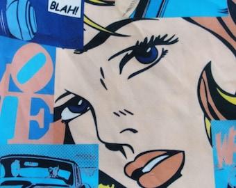 Pop art Cartoon printed Cotton fabric  DOUBLE width!