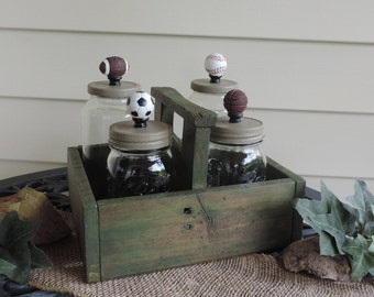 Pallet Caddy (Sports Themed) Wood Craft, Glass Jar Storage, Coaches Gift