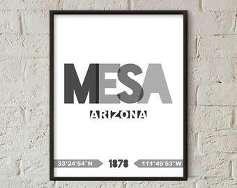 Mesa Print, Mesa Printable, Mesa Poster, Mesa Wall Art, Mesa Coordinates, Mesa Minimalist (W0243)