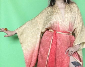 1930s Ombre Kimono / 20s 30s Silk Robe / 1920s Pink Dressing Gown