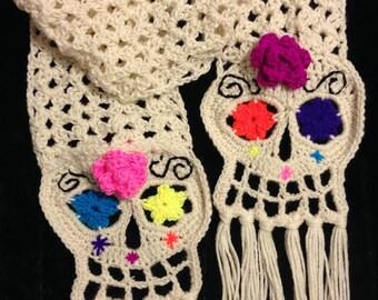 Skull crochet scarf, day of the dead scarf, skull scarf, skull crochet, fall scarf, crochet scarf, dia de los muertos, crochet,skeleton,yarn