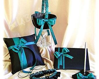 Black and Teal Wedding Ring Pillow, Flower Girl Basket, Bridal Garters, Wedding Guest book and pen set Wedding Accessories, 7pcs