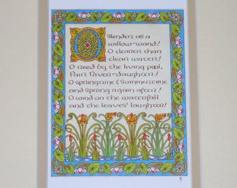 Tolkien's LOTR Goldberry Water Lily Illustrated Calligraphy Print