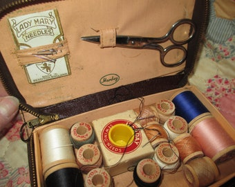 Vintage Harday leather  sewing kit thread  thimble needles scissors Kloster darning and Monarch thread