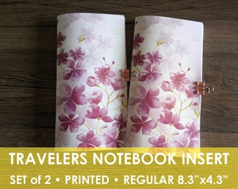 Set 2 TN inserts, Travelers Notebook, Midori Inserts, Weekly, Regular, Week on one page, undated, TN inserts, Printed, Weekly Insert Printed