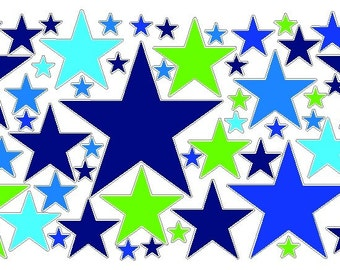 80 Peel and Stick Lime/Blue/Cyan Stars Decals Removable/Repostitionable Wall Art