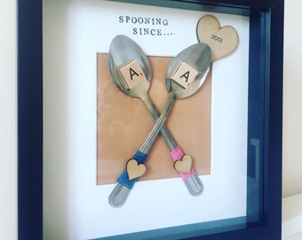 Couples anniversary gift- spooning since. Personalised frame. Romantic gift- 11th or 6th wedding anniversary. Valentines