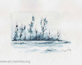 Winter landscape - Original watercolor painting