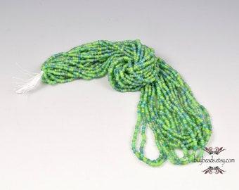 Seed Beads, 10/0, Grass Green-Teal Blue Mix, Czech