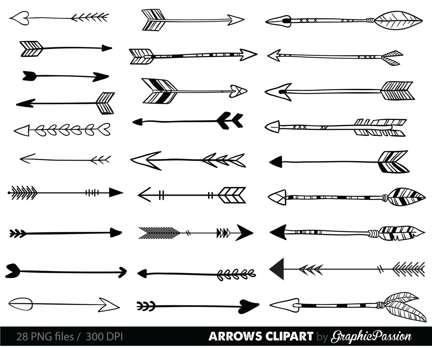 Arrows clip art tribal arrow clipart archery hand drawn